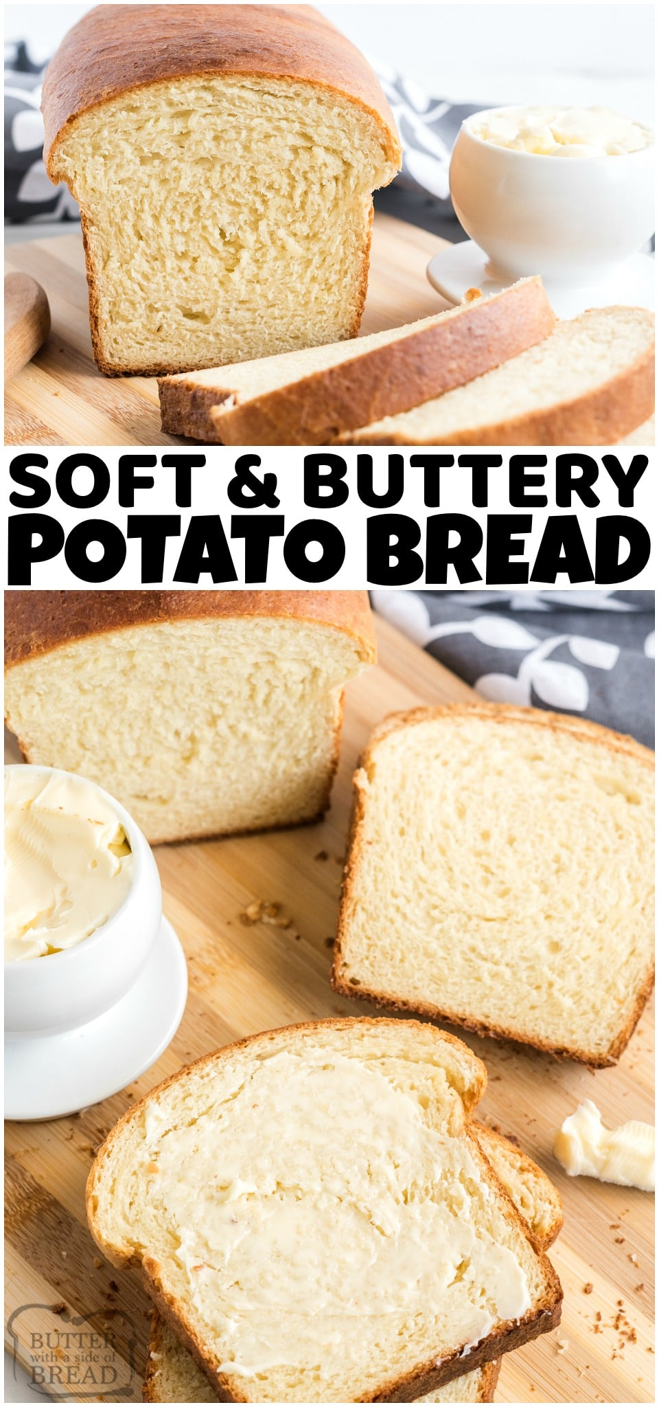 Potato Bread made with mashed potatoes, butter, milk, flour, eggs, and yeast. Potato Bread recipe is a family favorite that's easy to make & has a fantastic homestyle flavor! #bread #homemade #baking #potatoes #mashedpotatoes #potatobread #recipe from BUTTER WITH A SIDE OF BREAD