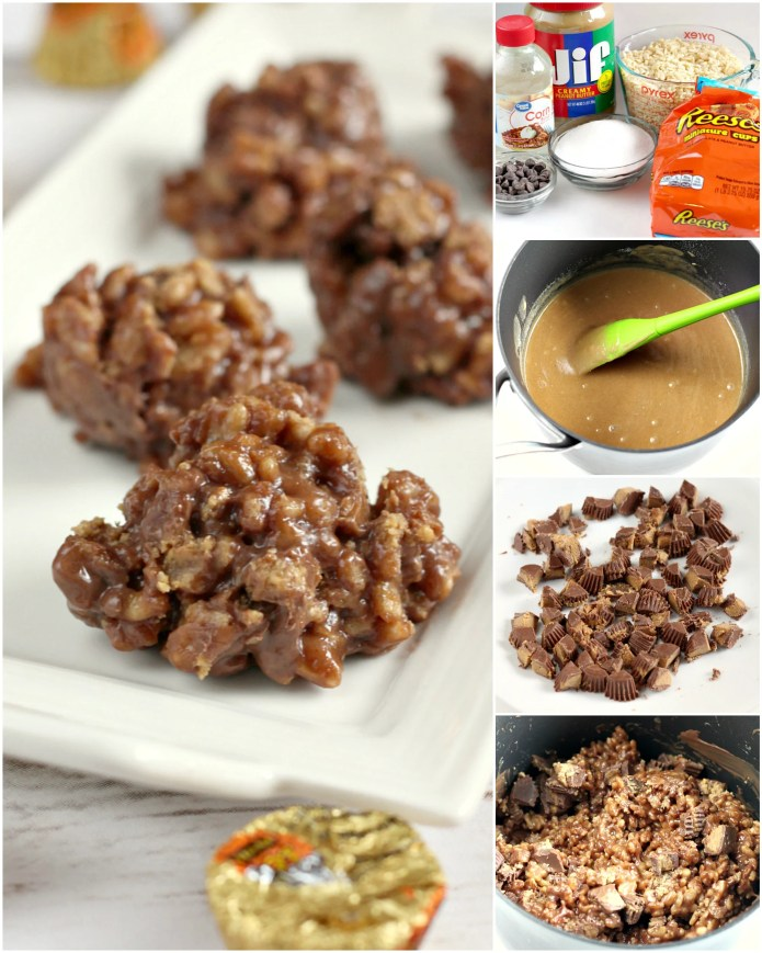 Reese's Krispie No Bake Cookies are full of chocolate, Reese's peanut butter cups, rice krispies cereal, and a few other basic ingredients. This delicious no bake cookie recipe is absolutely amazing and only takes a few minutes to make!