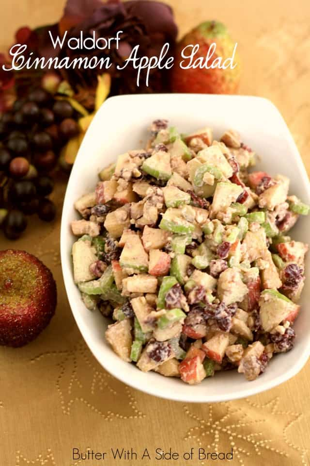 Waldorf Salad made with diced green & red apples, celery, dried cranberries and walnuts topped with a cinnamon vanilla greek yogurt dressing.