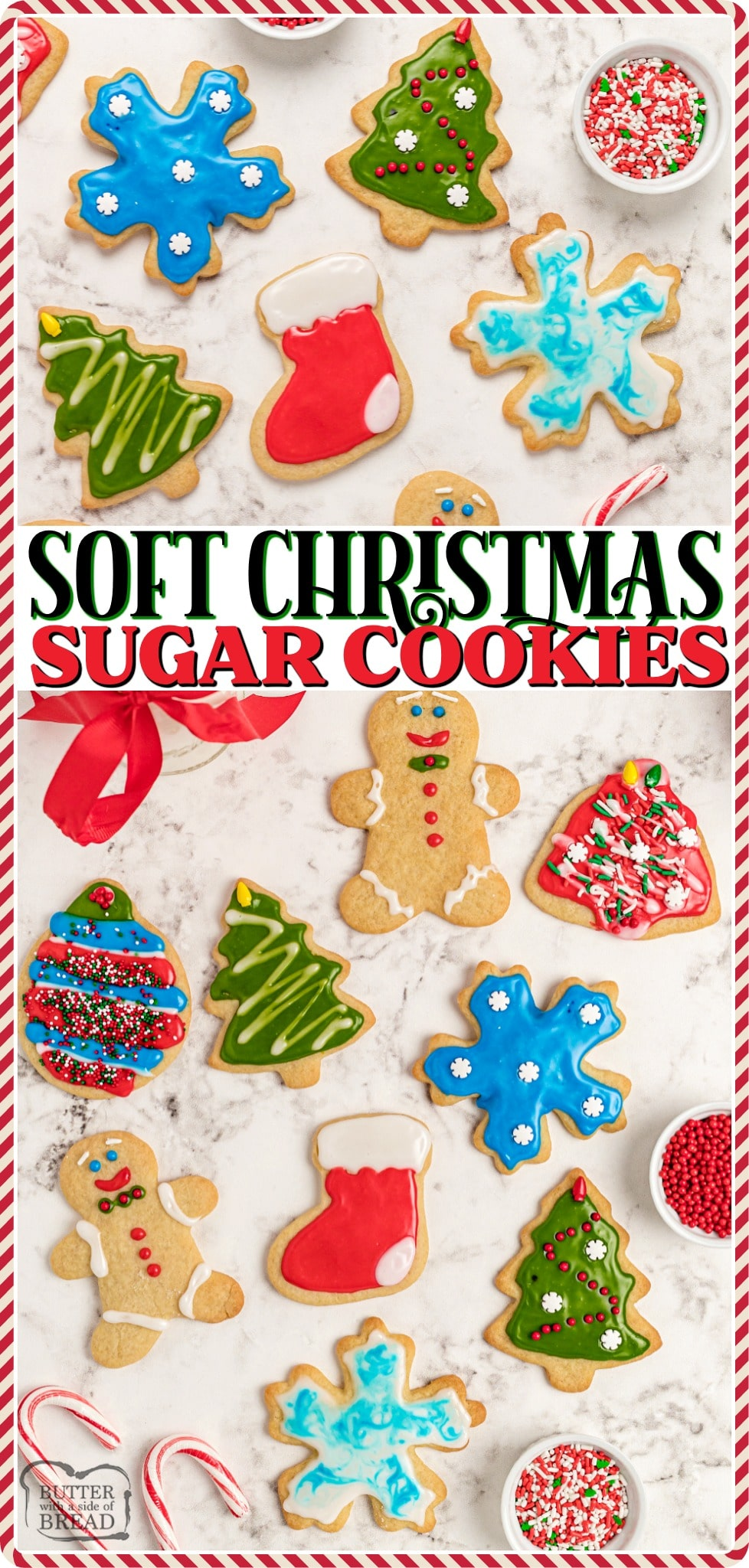 Soft Christmas Sugar Cookies made with classic ingredients & frosted with a simple Royal icing. Perfect holiday Sugar Cookie recipe for festive Christmas cut out cookies!
