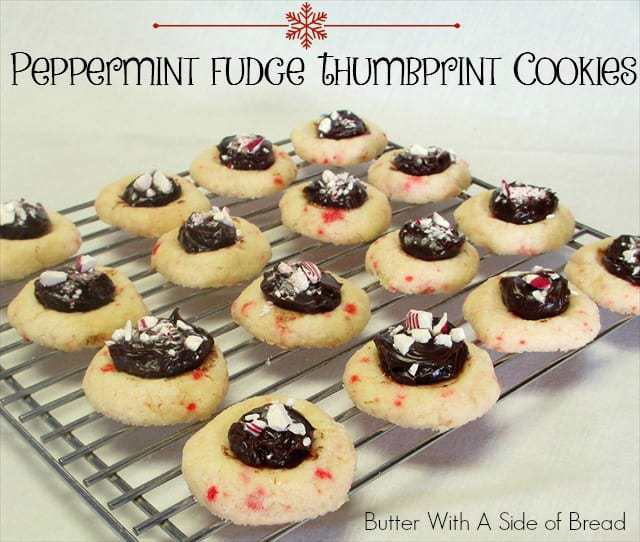 Thumbprint Cookies are so cute and fun to make! When you add delicious fudge and peppermint to them, they are the hit of all of your holiday parties!