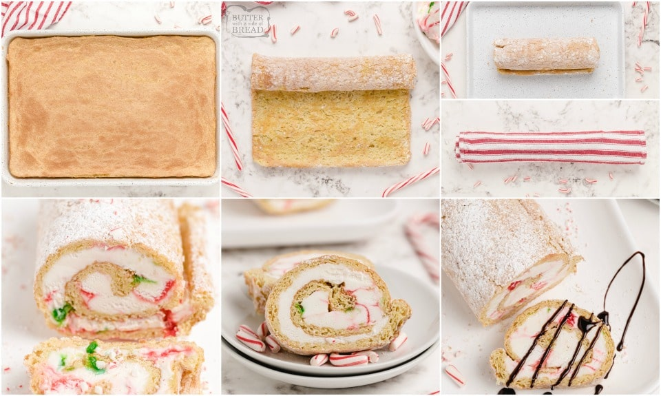 how to make a Peppermint Ice Cream Cake Roll recipe