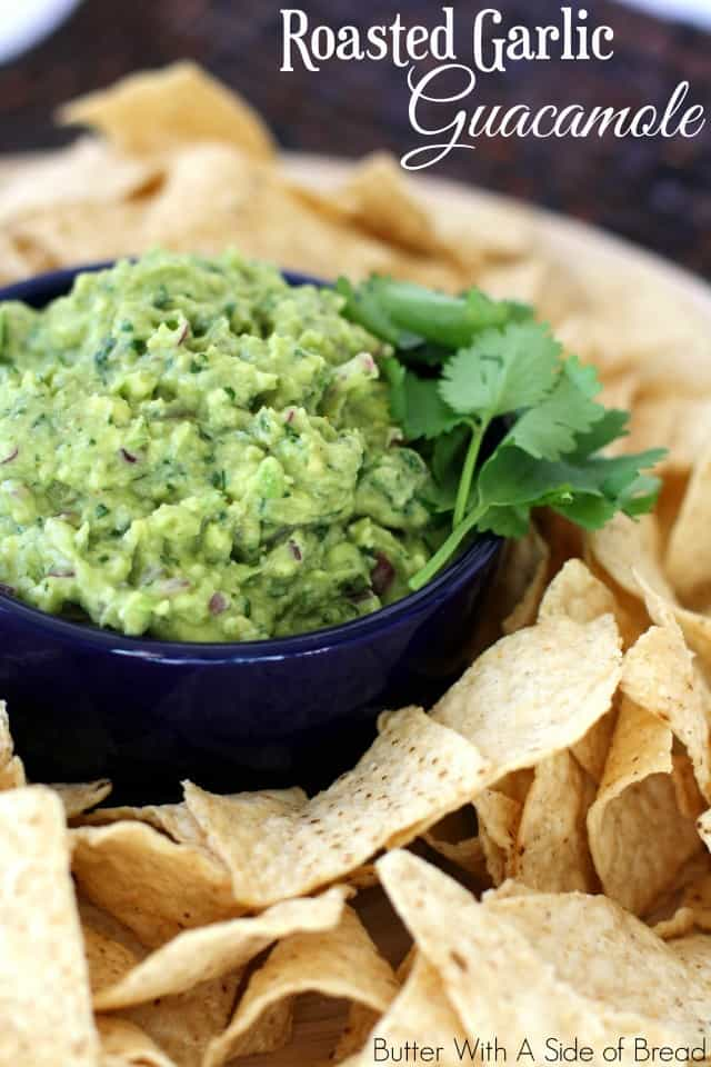 I am a huge fan of avocados! Guacamole is an easy and versatile way to use them- it's a great appetizer or you can top nearly any Mexican dish with it. Roasting the garlic beforehand mellows the garlic flavor- it adds a wonderful depth to the guacamole. I know, a whole tablespoon sounds like a lot, but trust me, it's delicious!