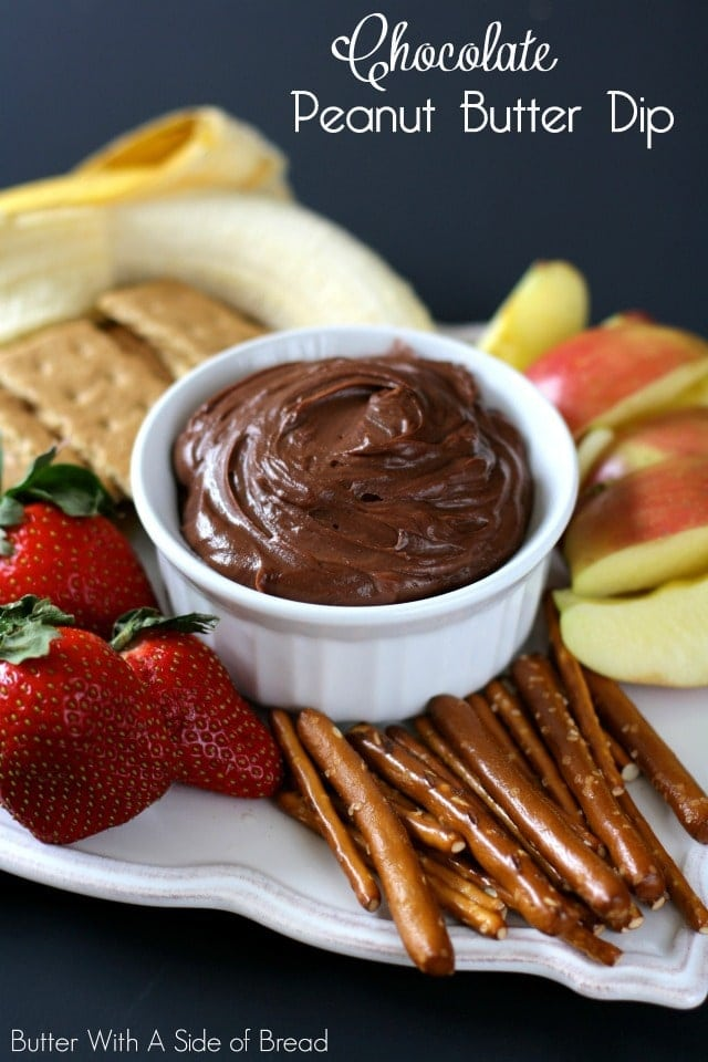 January 24th is National Peanut Butter Day and to celebrate, I'm sharing a fantastic {easy!} recipe with you all. This dip comes together quickly and is light, creamy and a huge crowd pleaser. My kids and I devoured it for lunch, but I think it's a perfect snack or after dinner treat too. Enjoy!