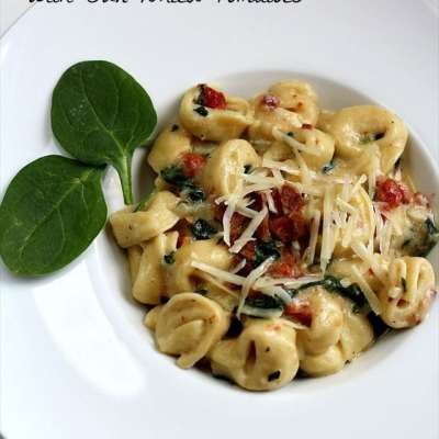 SKILLET SPINACH TORTELLINI with SUN DRIED TOMATOES