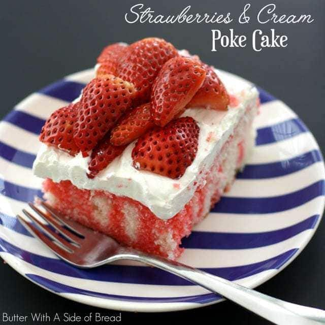 Strawberries & Cream Poke Cake is the perfect light and refreshing dessert for any gathering with family and friends - it is delicious and so pretty!