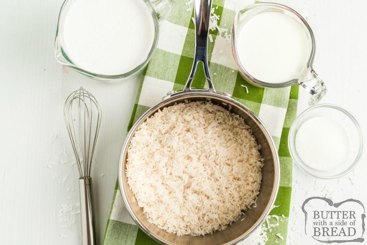 Ingredients in coconut rice recipe