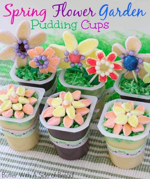 Easter Spring Flower Garden Pudding Cups.Butter With A Side of Bread.top
