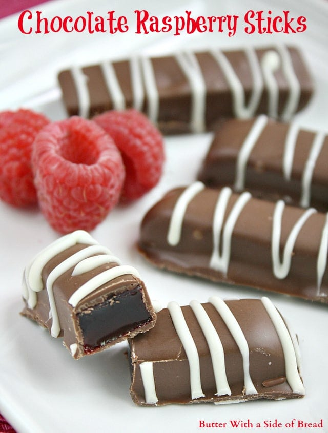 Chocolate Raspberry Sticks are made with a delicious jellied raspberry filling dipped in melted chocolate – a favorite holiday candy!