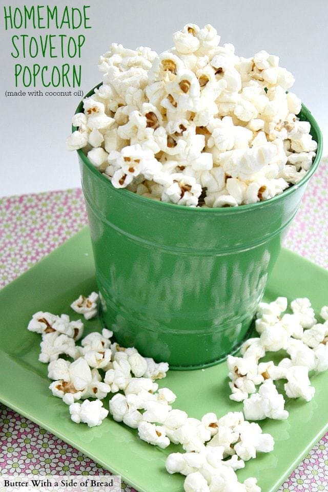 Homemade Stovetop Popcorn - Butter With a Side of Bread