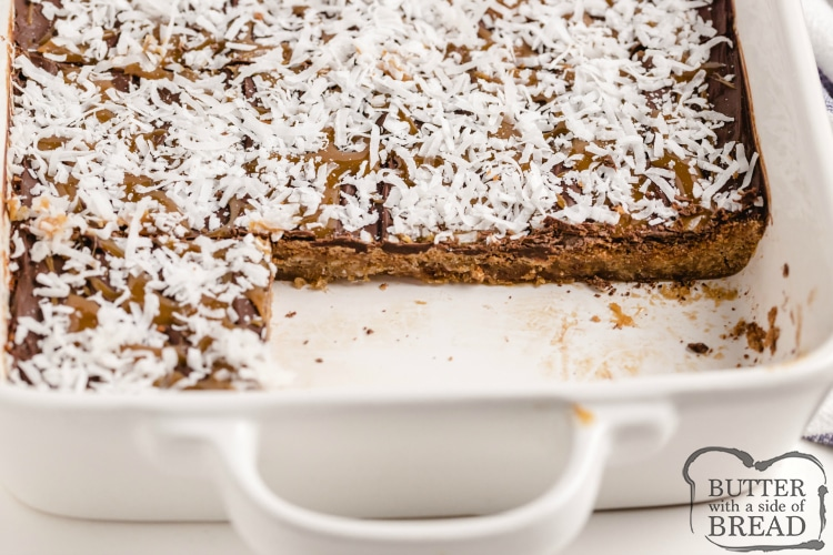 Samoa Cookie Bars made with chocolate, caramel and coconut