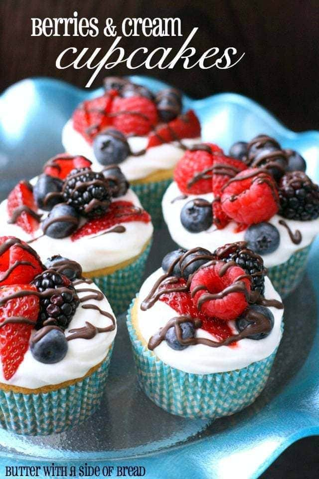 Berries & Cream Cupcakes - Butter With A Side of Bread