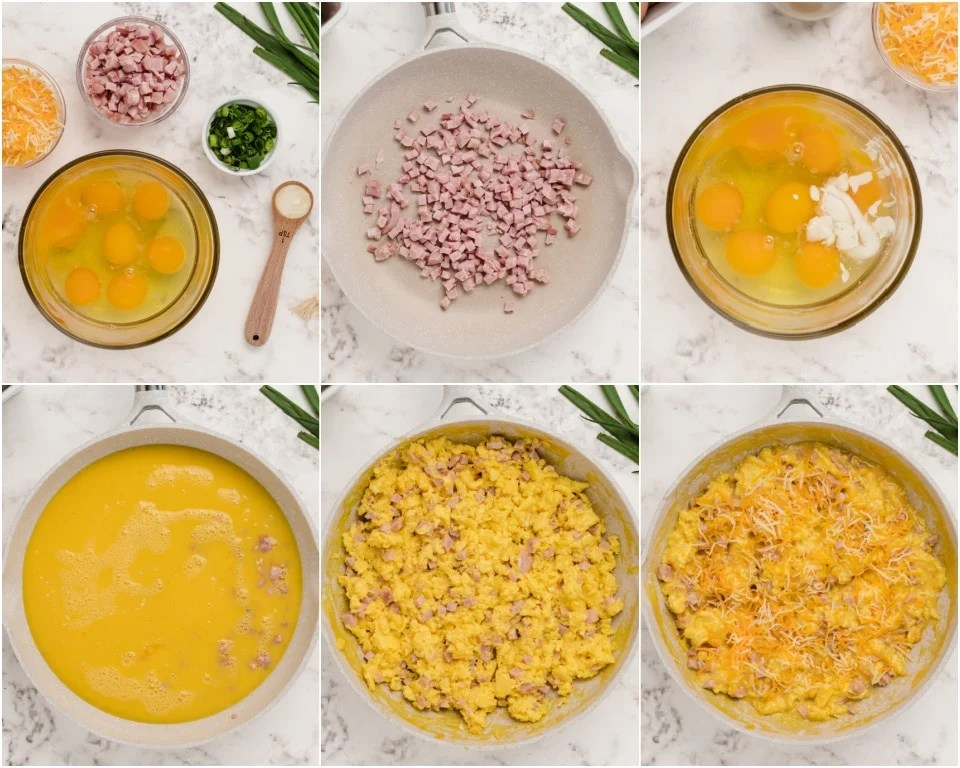 Best easy recipe for ham and cheese scrambled eggs
