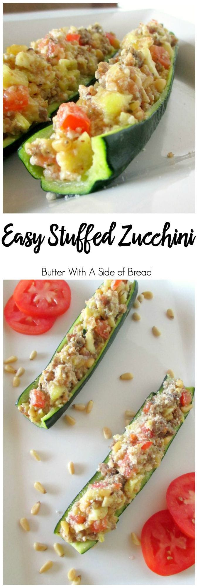 Our Easy Stuffed Zucchini is a simple, flavorful recipe that everyone enjoys. You can make the entire dish in the microwave- or put it on the grill and it's ready in minutes! Easy #zucchini recipe from Butter With A Side of Bread