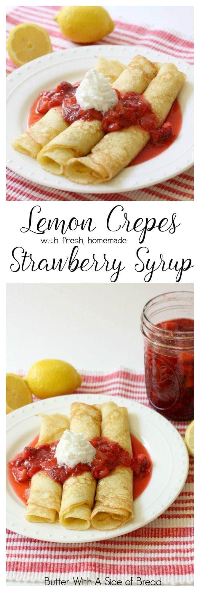 We love crepes at our house and when I found this fantastic recipe for fresh strawberry syrup, I knew I wanted to pair them with lemon crepes. It was delicious combination and everyone loved it. It was easy enough to make as far as crepes go, but they looked so pretty, you could easily serve them to guests.