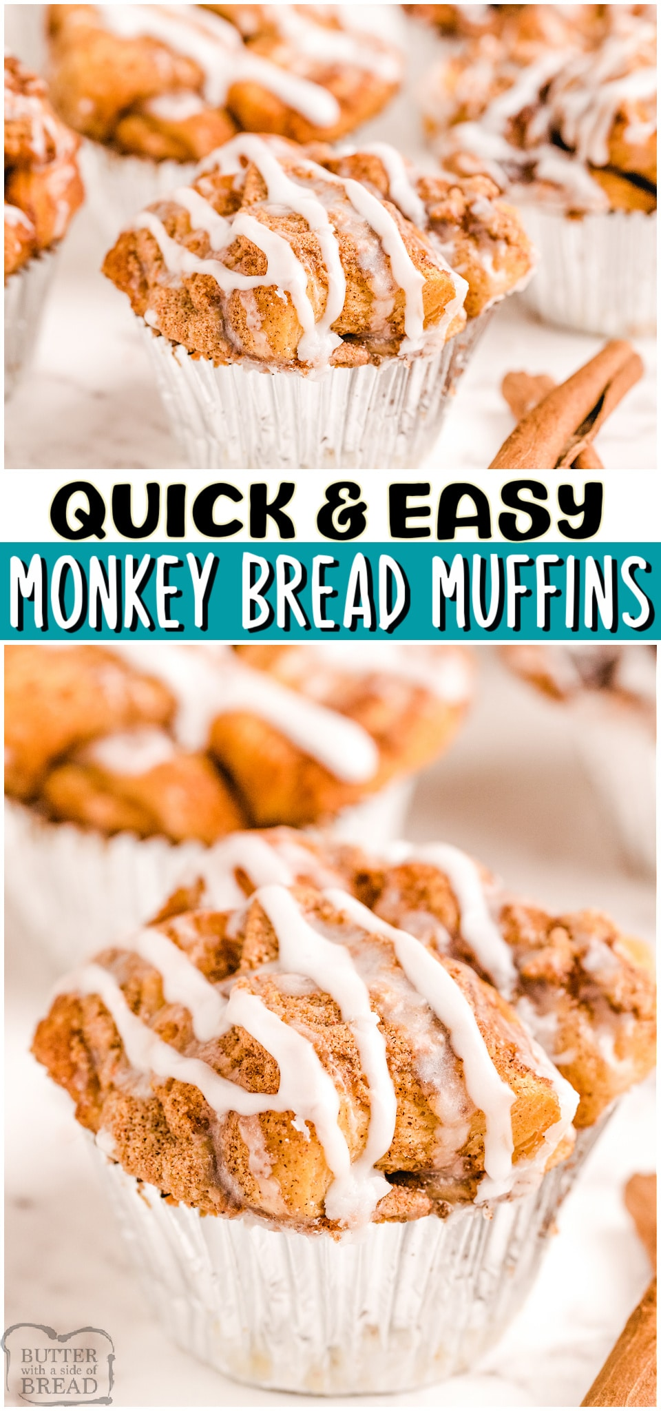Monkey Bread Muffins made with just a handful of ingredients & ready in 30 minutes! All the buttery sweet butterscotch & cinnamon flavors of Monkey Bread, only in muffin form!#monkeybread #muffins #cinnamon #baking #breakfast #easyrecipe from BUTTER WITH A SIDE OF BREAD