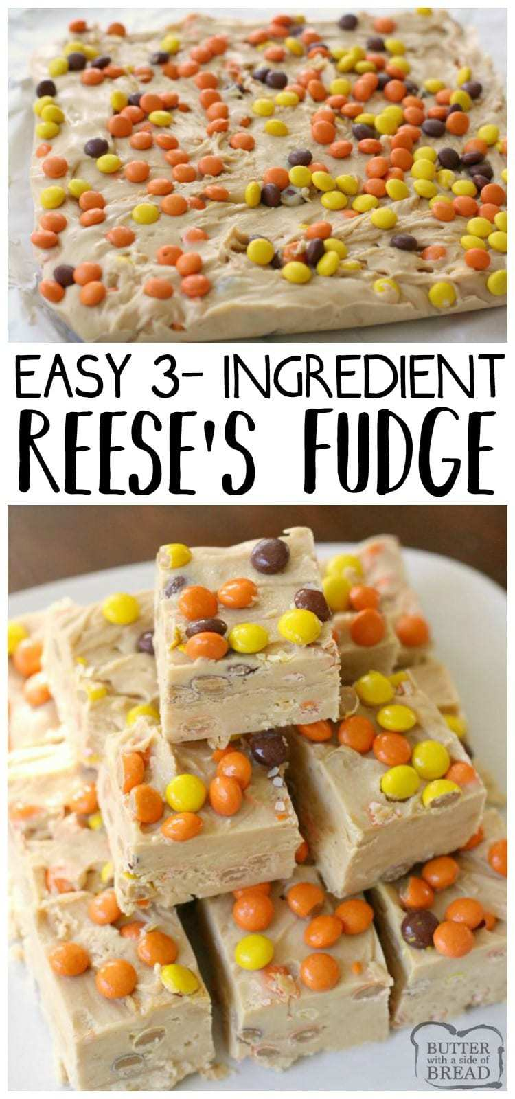 Simple & easy 3 ingredient Reese's Fudge recipe that's made in minutes! Smooth, creamy texture & peanut butter flavor throughout this tasty treat. Easy #fudge homemade #candy #recipe from Butter With A Side of Bread