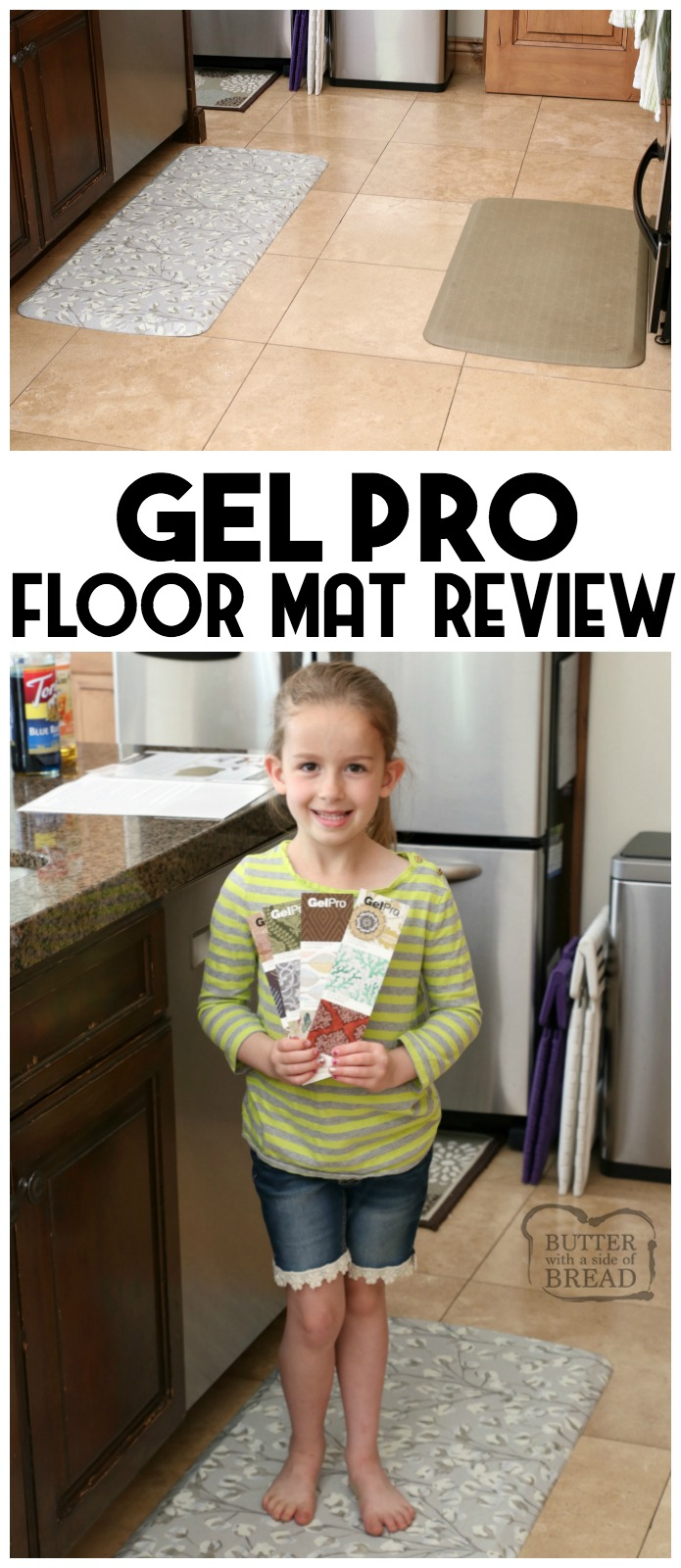 Honest GelPro Elite Floor Mat review, from a busy mom of 5. Why GelPro floor mats are the only and last floor mats you'll ever buy! GelPro floor mats are insanely comfortable, stay-put, durable and so pretty! #GelPro #review #kitchen #floor #floormat