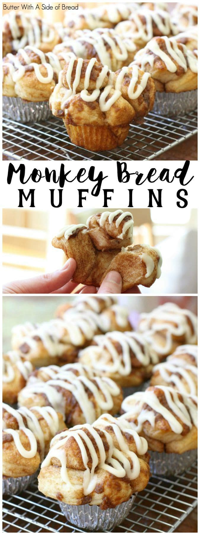 If you like Monkey Bread, then you'll love these Monkey Bread Muffins! They have all the flavors of monkey bread and more (hello- icing!) and they're done in just 30 minutes.  Scroll down to see a video I created showing how I made them. Enjoy!