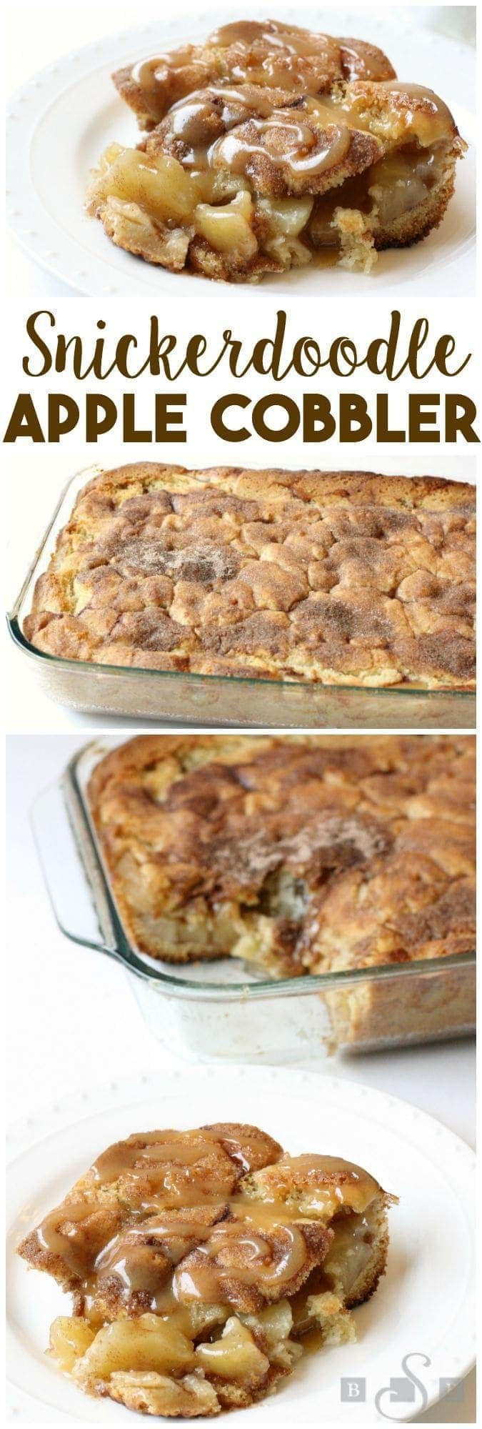 Snickerdoodle Apple Cobbler is a tasty twist on a delicious apple cobbler. With a cinnamon sugar cookie dough, caramel drizzle and canned cinnamon apple pie filling this dish is easy to make and incredible to eat!