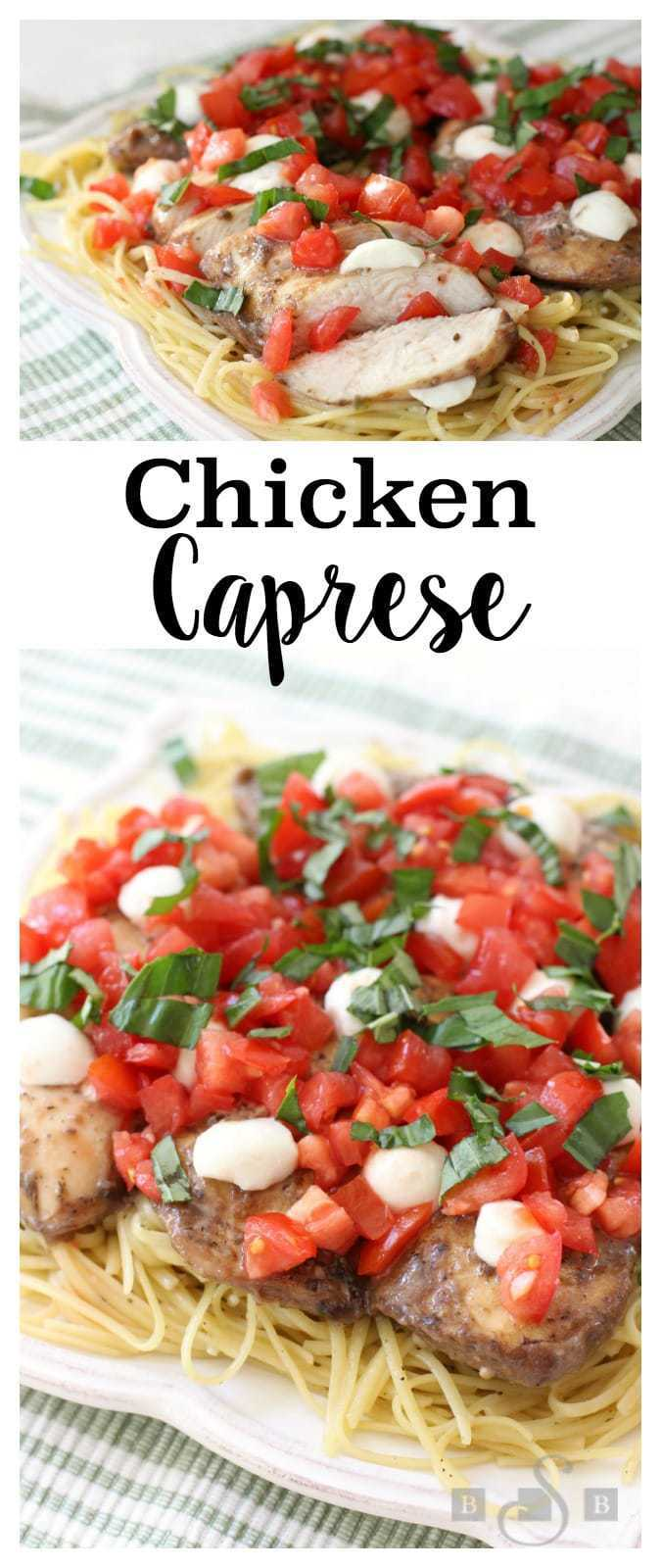 We're having a warm start to Fall here in Utah, which means the tomatoes from my garden are still growing abundantly. It's wonderful! This Chicken Caprese is a variation on a family favorite. I love how simple it is to make. The dish has incredible flavor and I adorethe fresh taste. It's easy enough for a weeknight dinner but the end product is so gorgeous, it could easily be for guests.