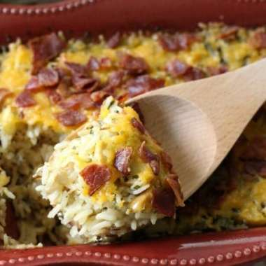 Cheesy Wild Rice Casserole with Chicken, Bacon, Apples & Cheddar - Butter With A Side of Bread