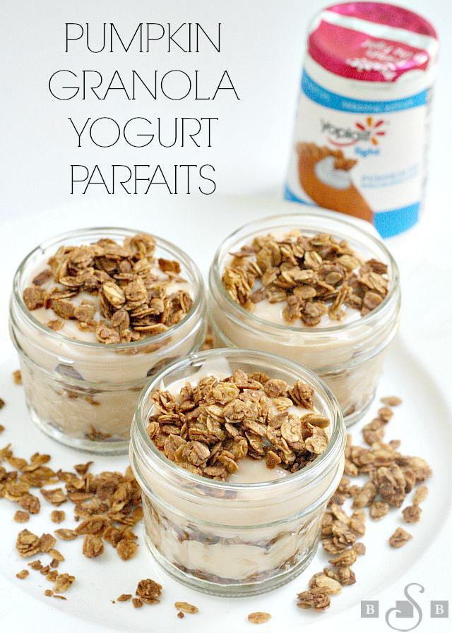 I love yogurt and all of my kids do too, so we go through a lot of it at our house! Yoplait has several seasonal flavors available right now, and I was excited to try the Yoplait light Pumpkin Pie flavor - it really does taste like pumpkin pie, but with a lot less effort (and calories too)! I decided to make a Pumpkin Spice granola to layer with this yogurt for a fun after school treatfor the whole family to enjoy. These little parfaits are so easy to put together andare the perfect fall snack- no need to wait until Thanksgiving for a little taste of pumpkin pie!