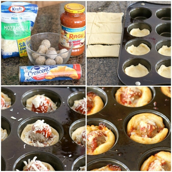Cheesy Meatball Bites made with crescent dough, meatballs, marinara sauce and lots of cheese! Easy appetizer recipe perfect for parties & game day.