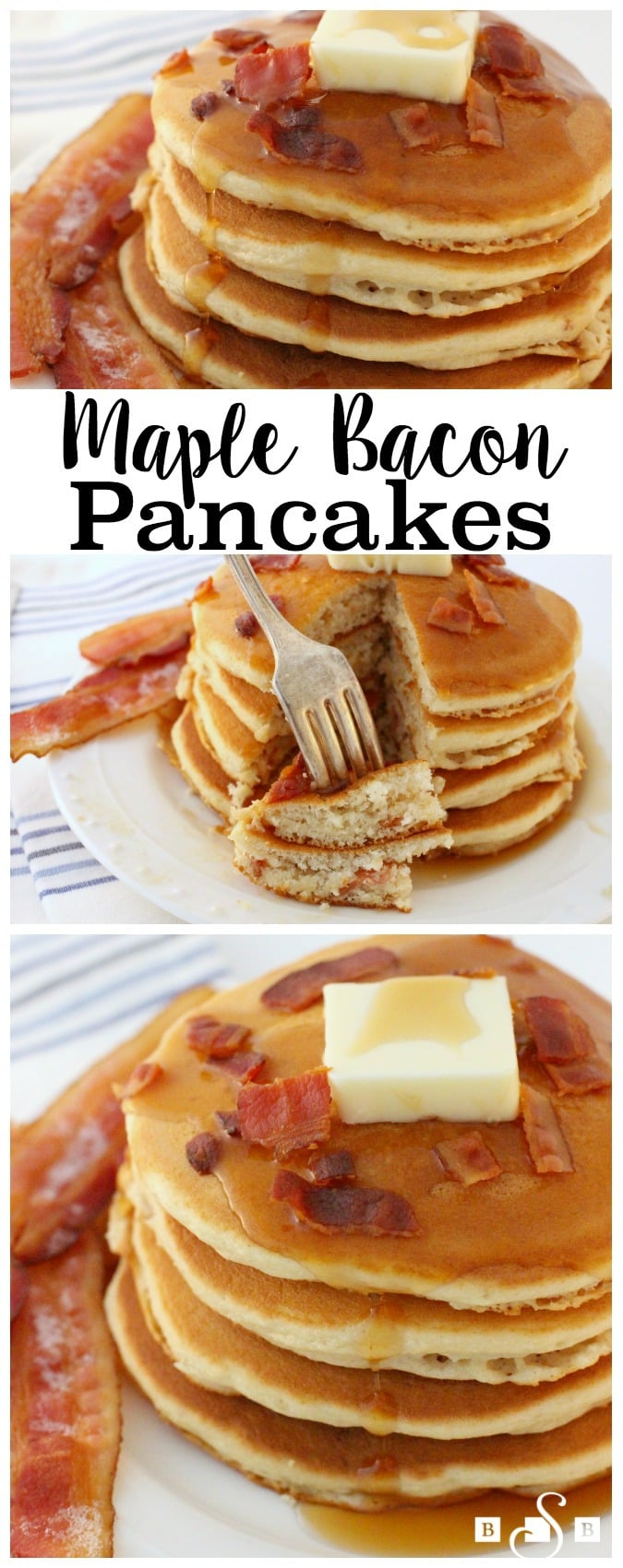 Happy Pancake Day! Yep, today is the day to celebrate this favorite breakfast food- and I've taken things up a notch with bacon of course! You'll love this simple, delicious recipe so much.