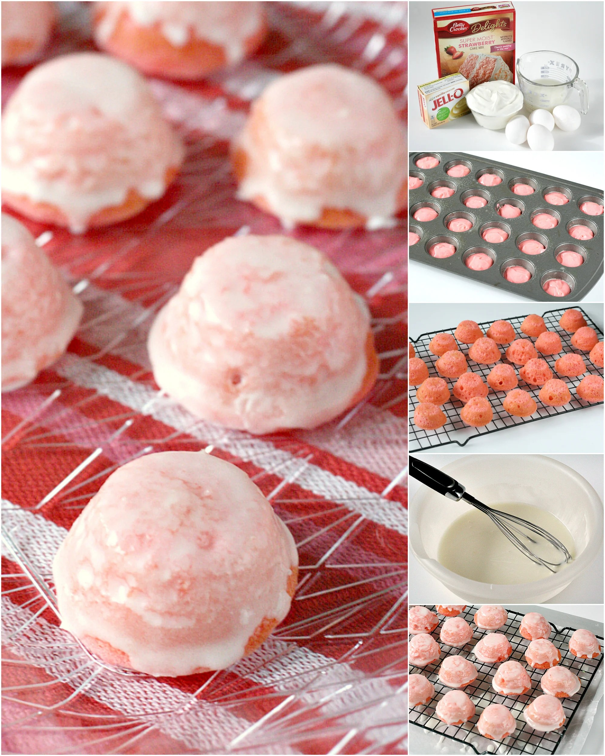 Glazed Mini Strawberry Cupcakes are delicious bite-sized treats that start with a strawberry cake mix. These mini cupcakes are dipped in a simple strawberry glaze to create a strawberries and cream flavor in an easy strawberry cake mix recipe!