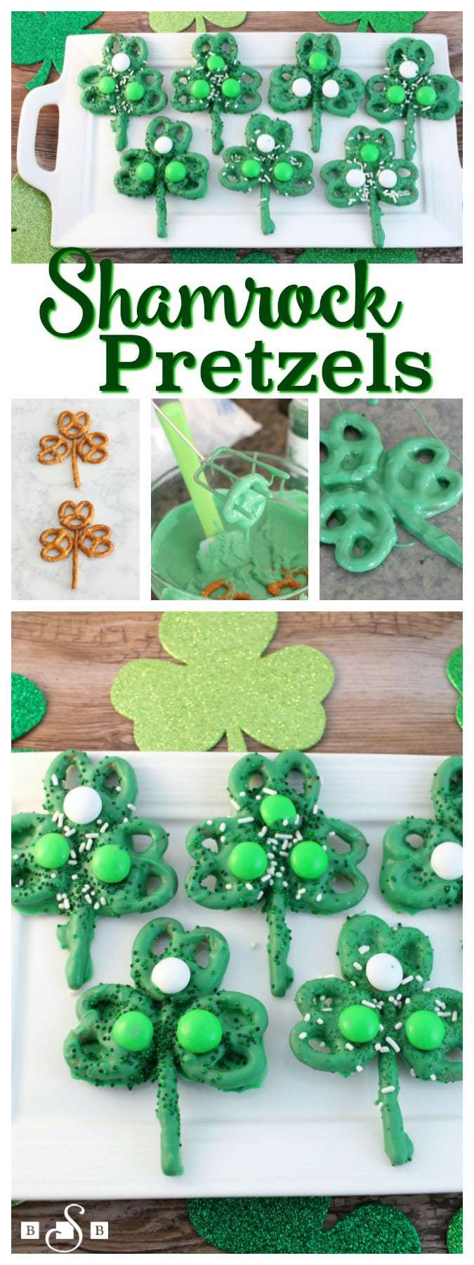 """I saw this fun idea for Pretzel Shamrocks on Pinterest - shout out to Mommy's Bundle for her fabulous idea. I'm not a fan of making """"pops"""" though because they cost more and it seems like I never have the pop sticks on hand when I want them. So I adapted her idea and the results came out darling! They were easy to make and I love how festive (and tasty!) they are. Enjoy!"""