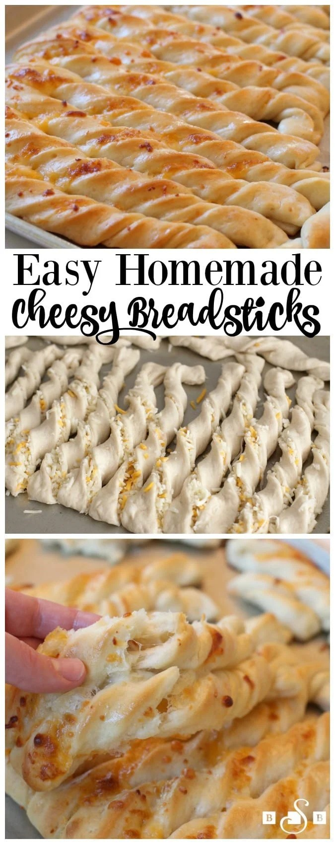 Cheesy Breadsticks made from scratch in under an hour! Soft, buttery and filled with cheese, these are the best #breadstick recipe ever! Butter With A Side of Bread