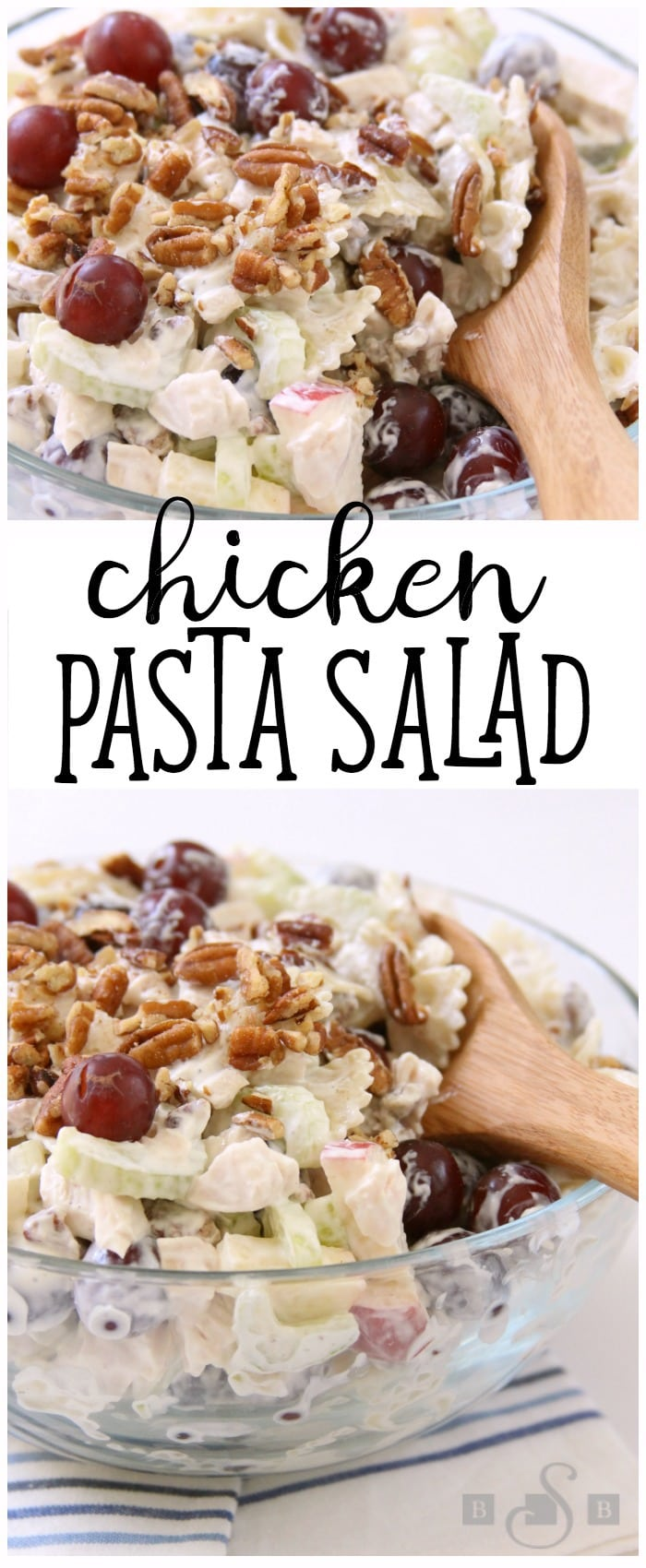 Chicken Pasta Salad is a lovely summer meal filled with tender chicken, apples, grapes, celery & pecans. Our Chicken Pasta Salad recipe is topped with a light dressing & chopped pecans.