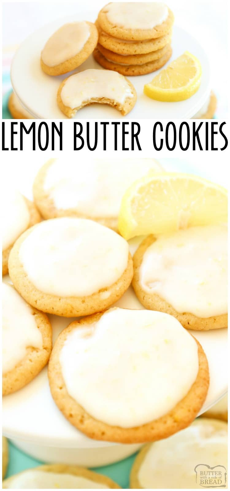 Lemon Butter Cookies is one of my favorite butter cookie recipes and lemon desserts! Every time I make them I'm surprised at just how GOOD these lemon cookies taste. #lemon #cookies #lemonbuttercookies #buttercookies #lemondessert #withicing #recipefrom Butter With a Side a Bread