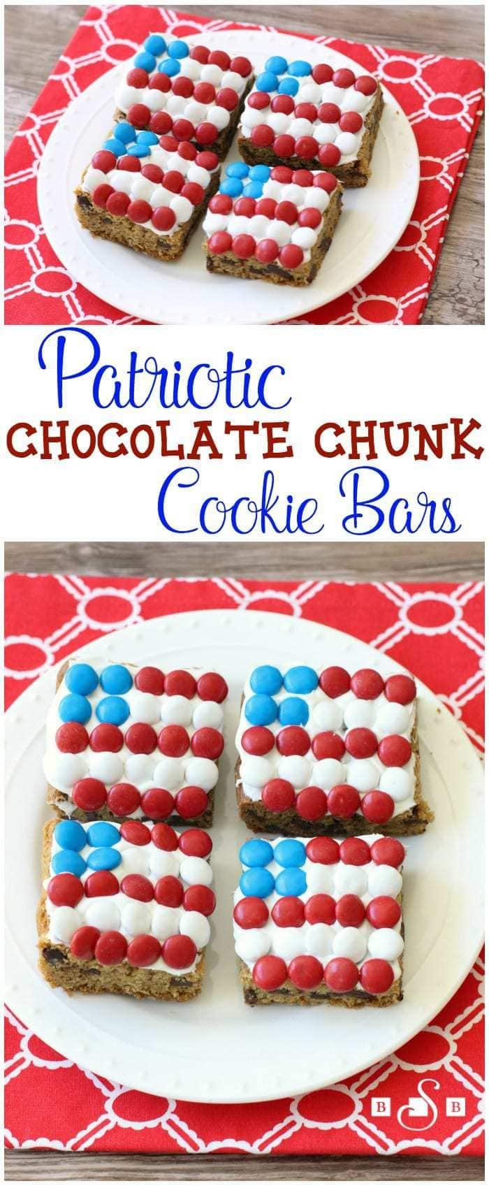Patriotic Chocolate Chunk Cookie Bars - Butter With A Side of Bread -- This recipe is so easy to make and you'll love how fun & festive they turn out! Perfect for 4th of July, Memorial Day or any other day you feel like being patriotic. Cute red, white & blue chocolate candies on top add the perfect touch!