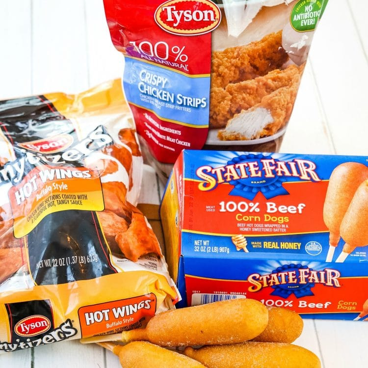 Tyson chicken wings, chicken tenders and State Fair Corn Dogs
