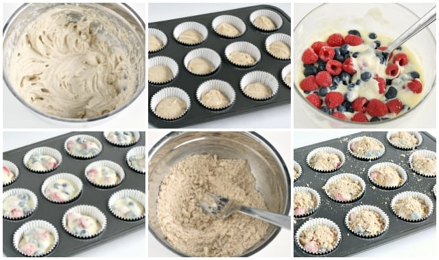Double Berry Cheesecake Muffins have a delicious cream cheese filling inside, and are full of fresh blueberries and raspberries!