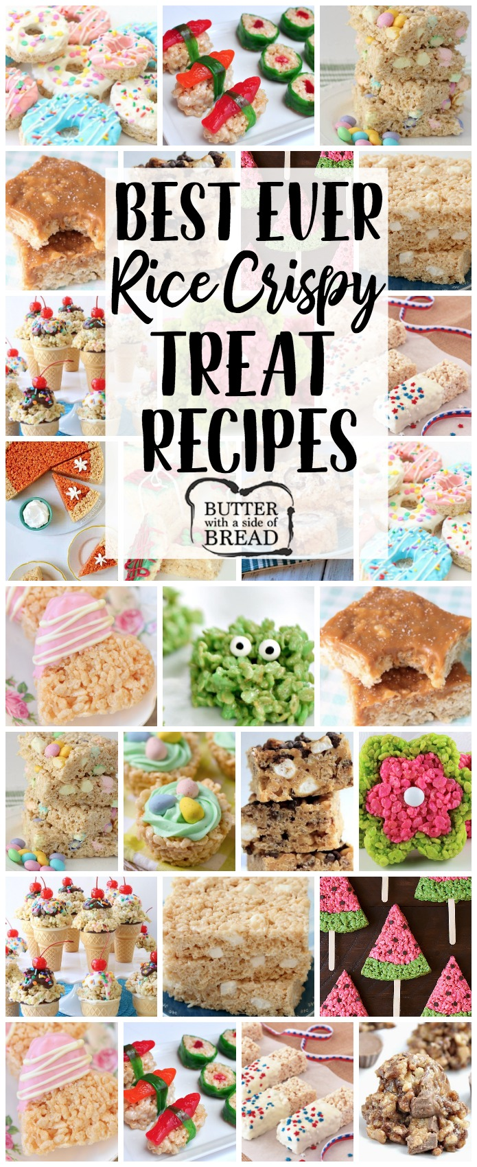 Rice Crispy Treat recipes for any and all occasions! From salted caramel to churro and everything in between, you're sure to find a rice crispy treat recipe you'll love. Our basic recipe for Krispie Treats is THE BEST! #ricekrispie #ricecrispy #krispies #dessert #food #treat #marshmallow