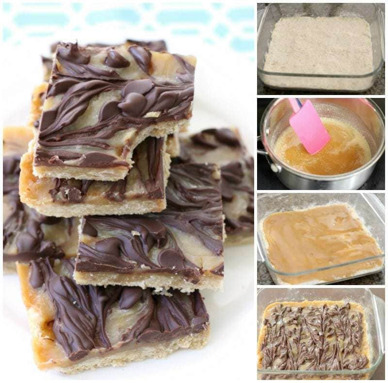 Chocolate Caramel Bars made with just 4 simple ingredients! Easy buttery crust topped with a quick caramel then swirled with melted chocolate.