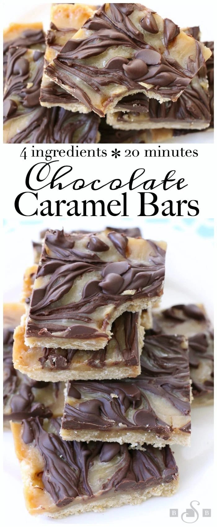 Chocolate Caramel Bars made with just 4 simple ingredients! Easy buttery crust topped with a quick caramel then swirled with melted chocolate. Best #caramel bars ever! #Dessert from Butter With A Side of Bread