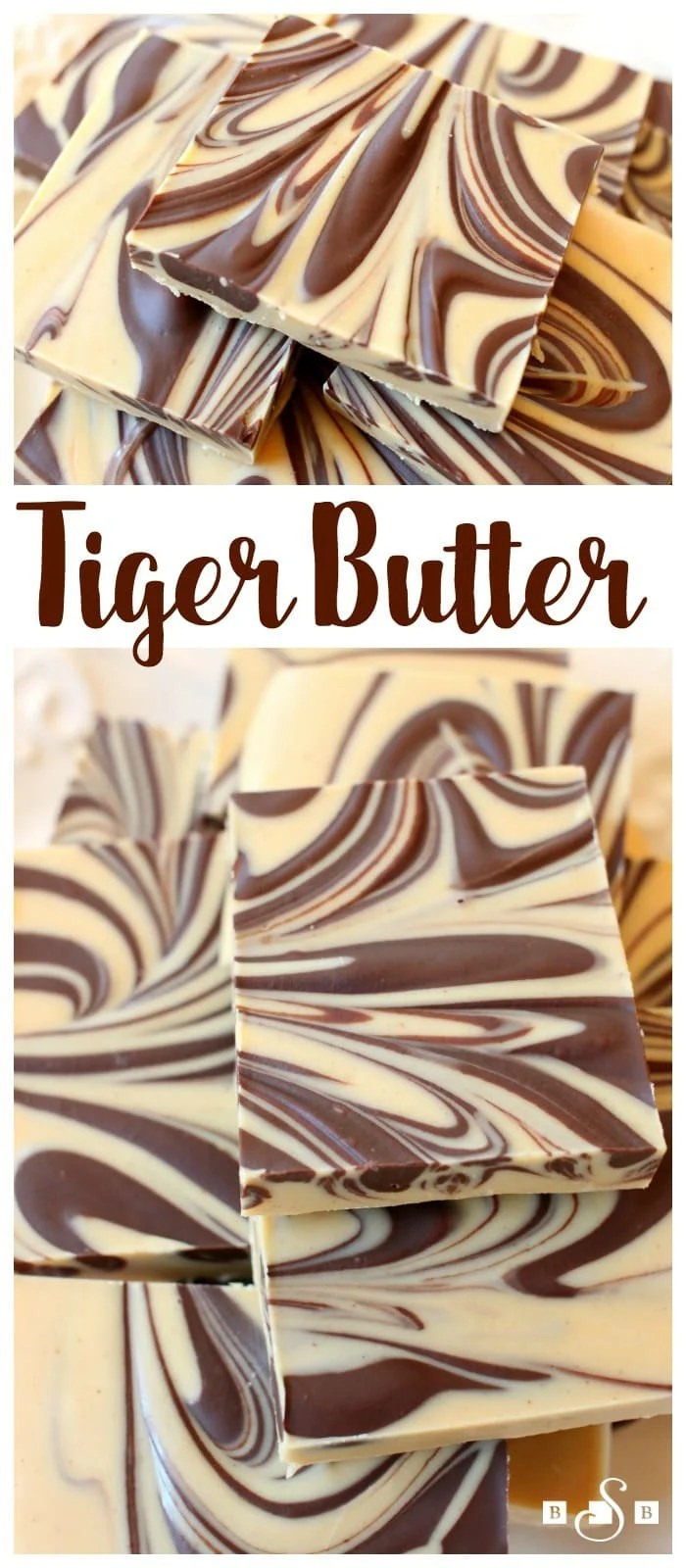 Tiger Butter made from 3 ingredients that are melted & swirled together. Gorgeous #holiday candy recipe with great peanut butter #chocolate flavor.Easy #candy recipe from Butter With A Side of Bread