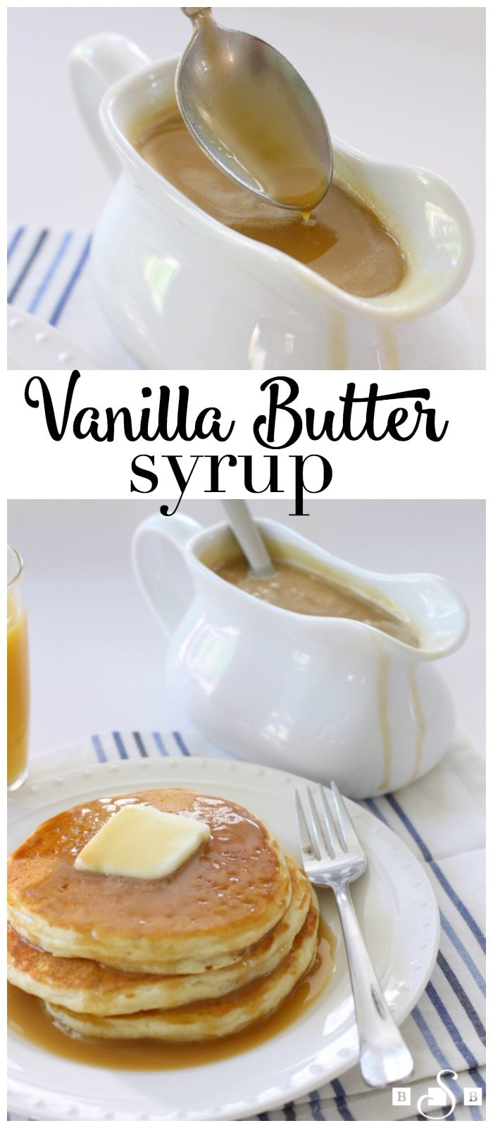 Vanilla Butter Syrup will make you never want to buy store-bought syrup again - this easy homemade syrup tastes incredible on fresh pancakes!