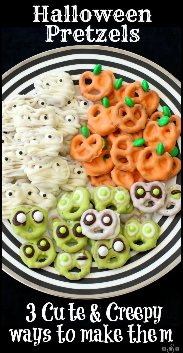 Halloween Pretzels made into 3 spooky treats- Pumpkins, Mummies & Aliens. Use chocolate & candy to create these festive Halloween Pretzels.