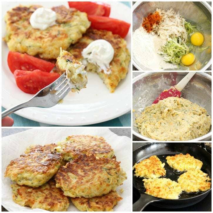 Cheesy Zucchini Fritters are the perfect way to use up some zucchini from your garden! Great as a side dish or appetizer, they're easy to make & flavorful!