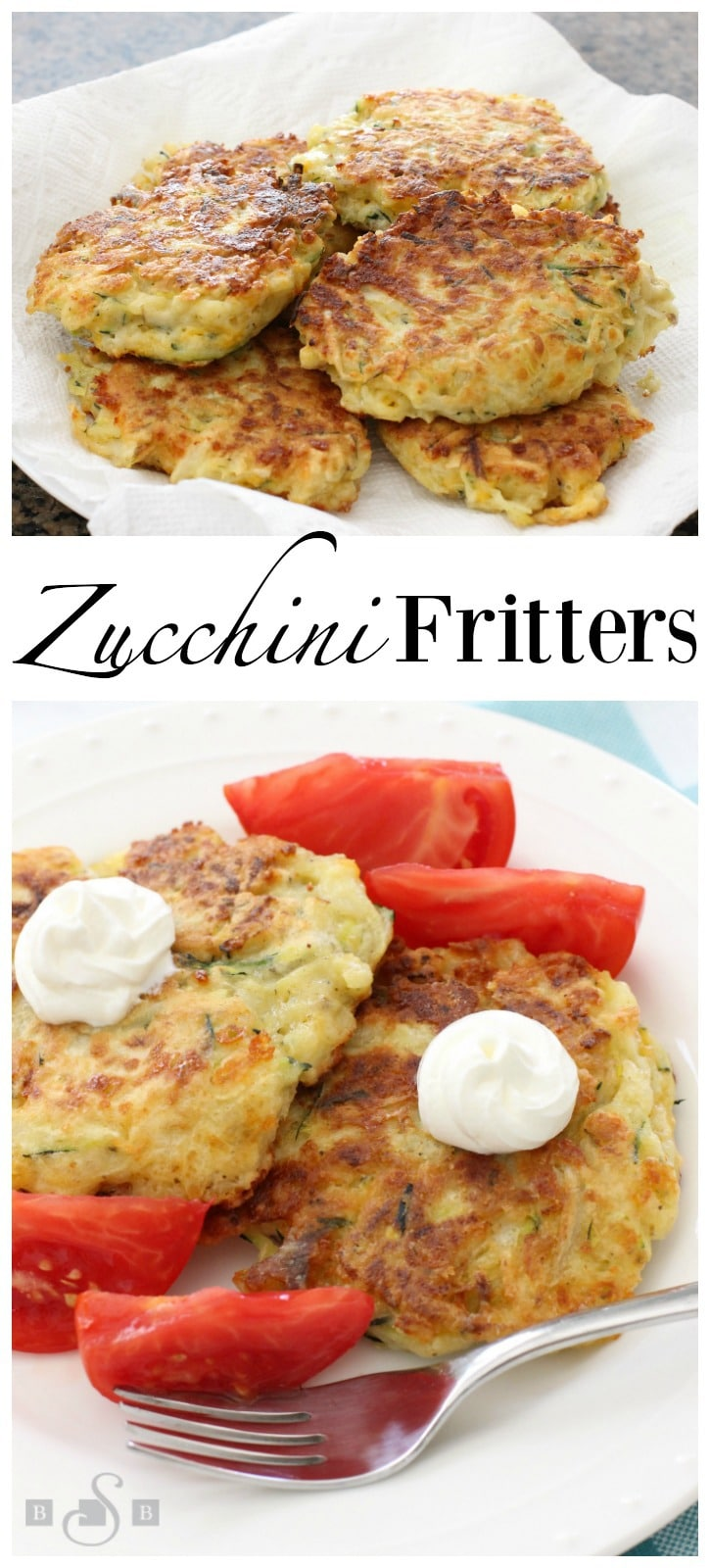 Cheesy Zucchini Fritters are the perfect way to use up some zucchini from your garden! Great as a side dish or appetizer, they're easy to make & flavorful! Easy #zucchini #recipe from Butter With A Side of Bread