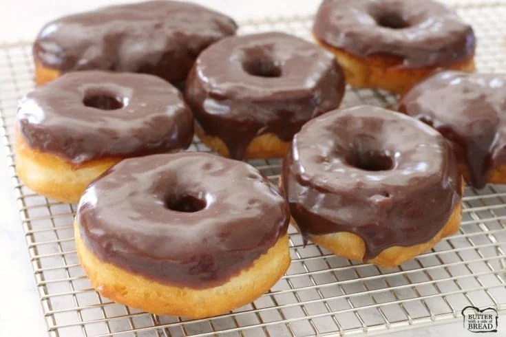 Chocolate Glazed Donuts made quick & easy with crescent dough & delicious buttery chocolate glaze. Better than store bought; you'll make them again & again!