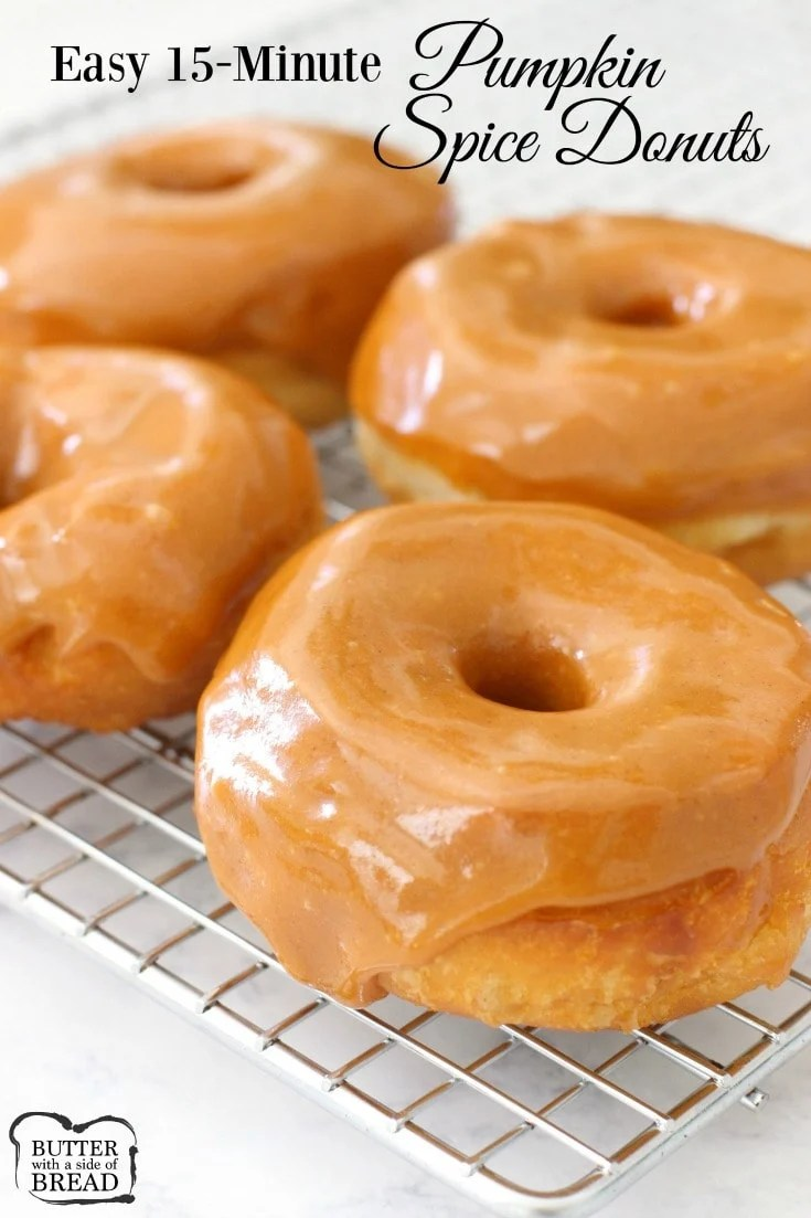 Pumpkin Spice Donuts made in minutes with crescent dough & an incredible pumpkin spice glaze. Hot & fresh donuts are easy to make!