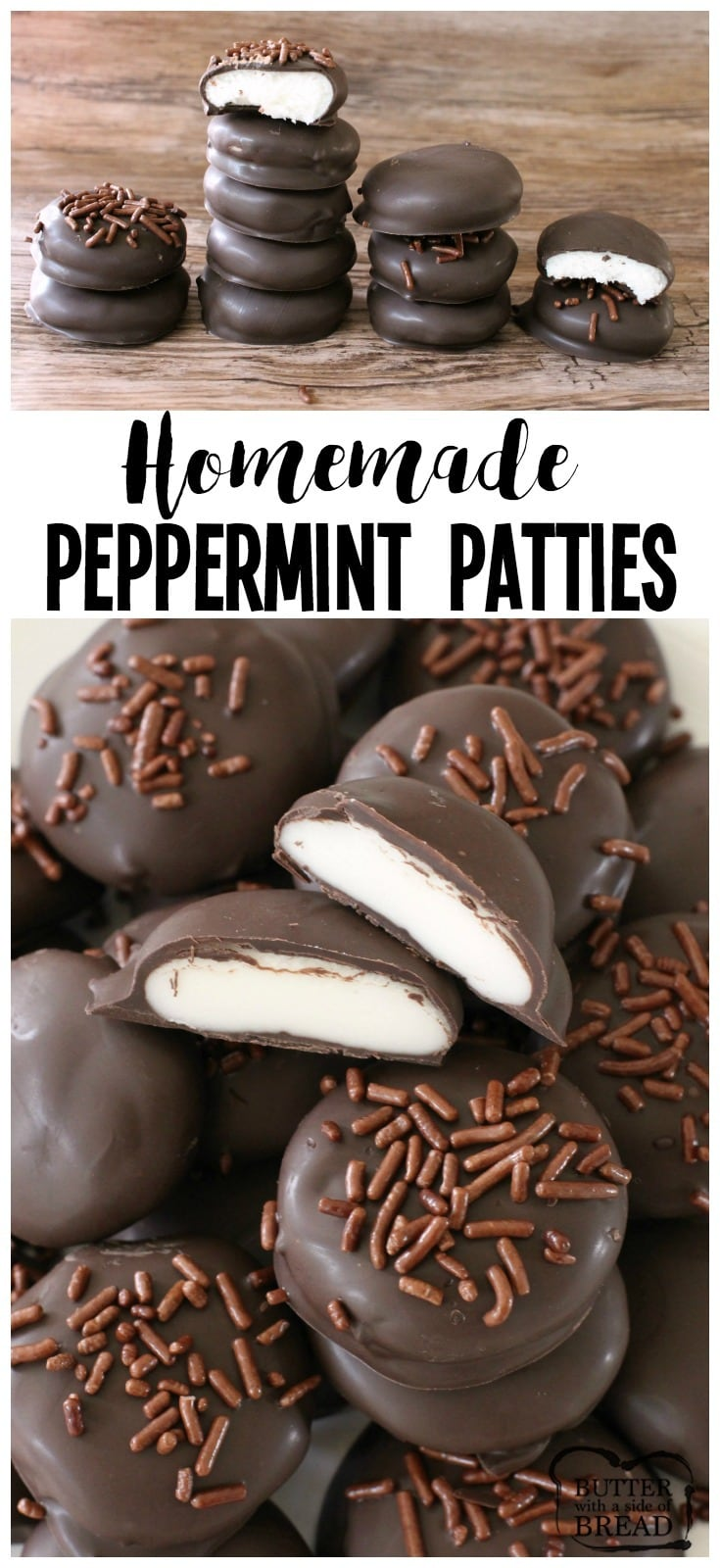 Easy Homemade Peppermint Patty recipe with just a handful of ingredients! Copycat York Peppermint Patties but BETTER. Simple soft, sweetened mint candy covered in chocolate for a delicious, easy peppermint patty candy.