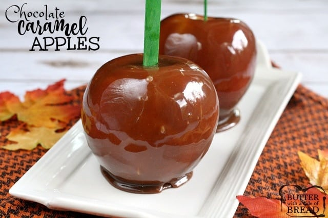 Chocolate Caramel Apples are made with melted Milk Duds adding chocolate flavor to classic caramel coated apples! Perfect for Halloween or any Fall party!