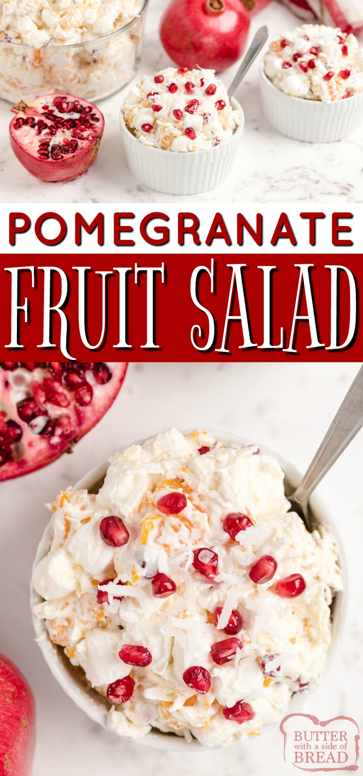 Creamy Pomegranate Fruit Salad made with pomegranates, fruit and marshmallows is sure to become a favorite holiday side dish! This simple fruit salad recipe is perfect for fall - it's been a family tradition to serve this for Thanksgiving for many years!